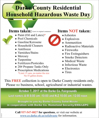 Darke County Residential Household Hazardous Waste Day