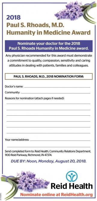 2018 Paul S. Rhoads, M.D. Humanity in Medicine Award
