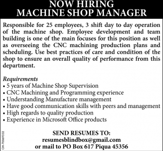 Machine Shop Manager
