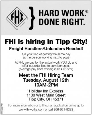Hiring In Tipp City Fhi Freight Handlers Inc Tipp City