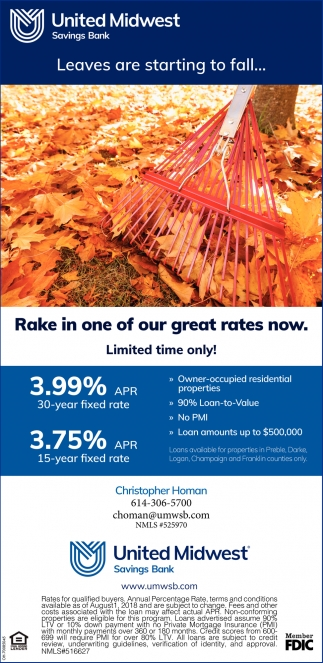 Leaves are starting to fall... Rake in one of our great rates now