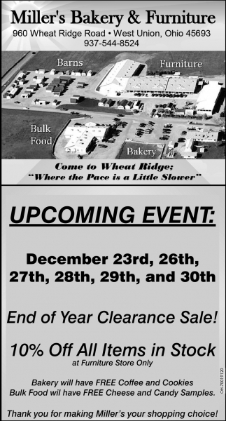 End of year clearance sale miller 39 s bakery furniture for Furniture year end sale 2017