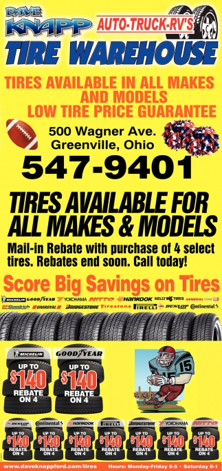 Tires available for all makes & models