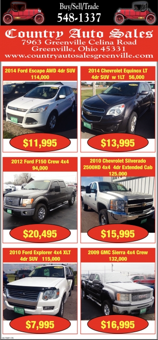 Country Auto Sales >> Buy Sell Trade Country Auto Sales Greenville Oh