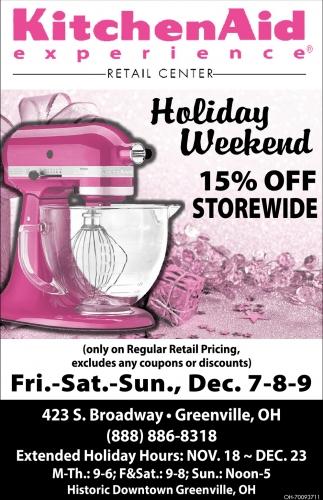 Holiday Weekend 15% off storewide