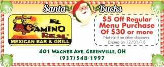 $5 off regular menu purchase of $30 or more