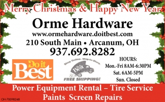 Power Equipment Rental, Tire Service, Paints Screen Repairs