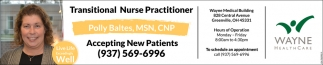 Transitional Nurse Practitioner Polly Baltes, MSN, CNP