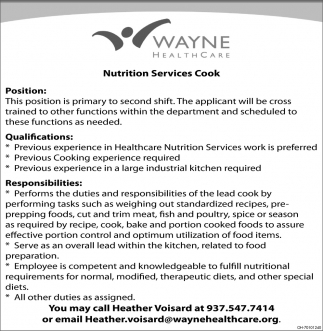 Nutrition Services Cook