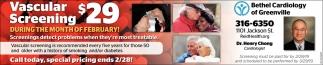 Vascular Sreening $29