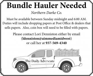 Bundle Hauler Needed
