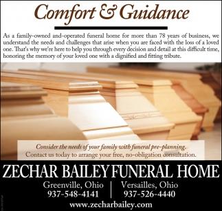 Comfort & Guidance, Zechar Bailey Funeral Home, Versailles, OH