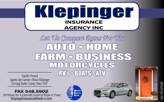 Auto, Home, Farm, Business, Motorcycles, RV's