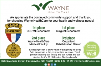 Thank You for Choosing Wayne Health Care for your health and wellness needs
