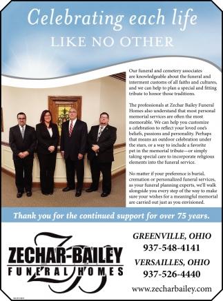 Celebrating each life - Like no other, Zechar-Bailey Funeral