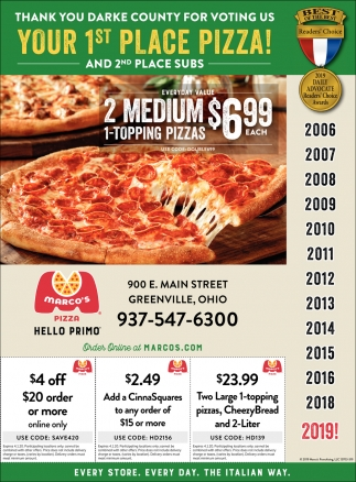 Thank You Darke County for Voting us Your 1st Place Pizza!