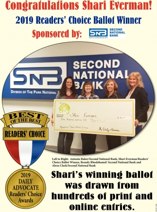 Congratulations Shari Everman! 2019 Reader's Choice Ballot Winner