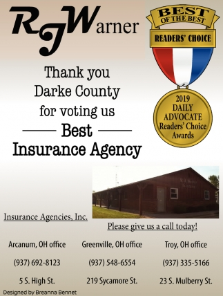 Thank You Darke County for voting us Best Insurance Agency