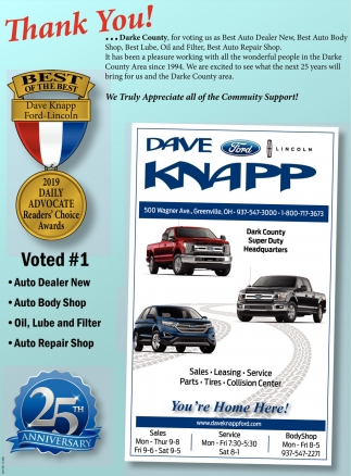 Thank You for voting us as Best Auto Dealer