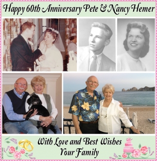 Happy 60th Anniversary Peter & Nancy Hemer