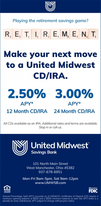 Make your next move to a United Midwest CD/IRA