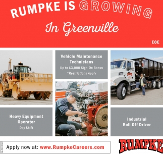 Vehicle Maintenance Technicians - Heavy Equipment Operator -  Industrial Roll Off Driver