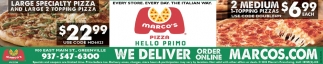 Large Specialty Pizza and Large 2 Topping Pizza $22.99