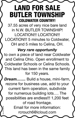 37.55 acres in N.W Butler Township