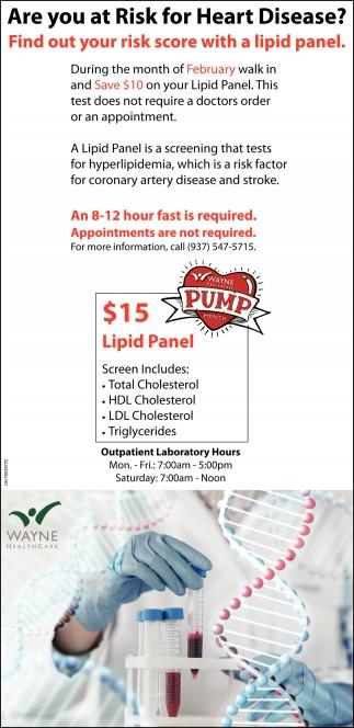 $15 Lipid Panel