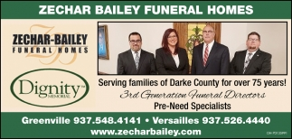 Serving families of Darke County for over 75 years!, Zechar