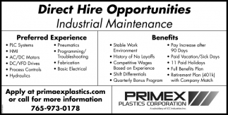 Direct Hire Opportunities - Industrial Maintenance