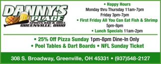25% Off Pizza Sunday
