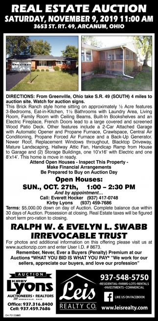Real Estate Auction - November 9