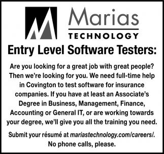 Entry Level Software Testers