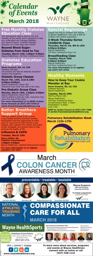 Calendar of Events March 2018