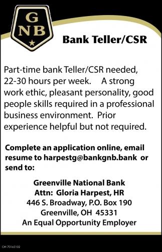 Bank Teller / CSR