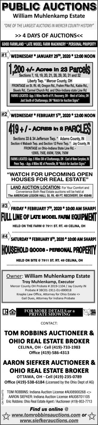 Public Auctions - 4 Days Of Auctions