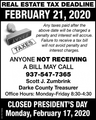 Real Estate Tax Daeadline - February 21