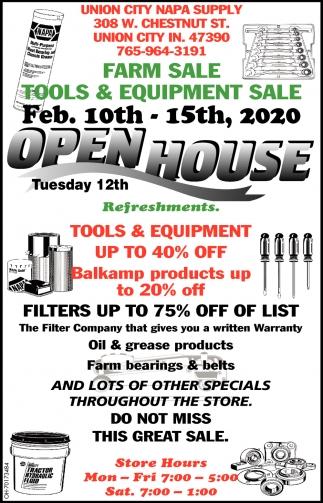 Open House - Farm Sale  Tools & Equipment Sale