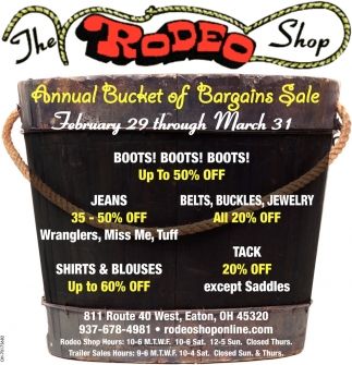 Annual Bucket of Bargains Sale