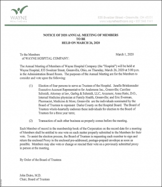 Notice 2020 Anual Meetring Of Members