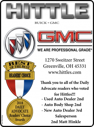 Thank you to all of the Daily Advocate readers who voted for Hittles!!