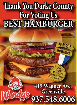 Thank you Darke County for voting us Best Hamburger