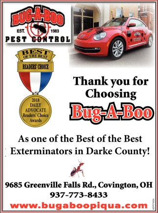 Thank you for choosing Bug A Boo as one of the Best of the Best Exterminators in Darke COunty