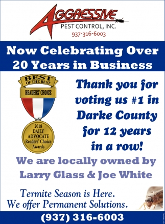 Thank you for voting us 1 in Darke County for 12 years in a row!