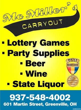 Lottery, Beer, Wine, Liquor