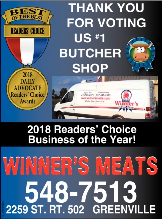 Thank you for voting us 1 butcher shop