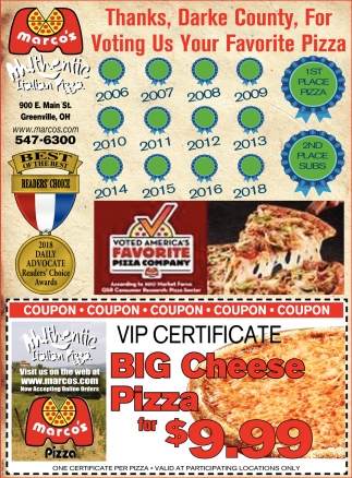 Thanks, Darke County, For Voting Us Your Favorite Pizza