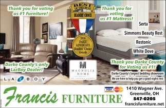 Thank you for voting us 1 furniture and mattress