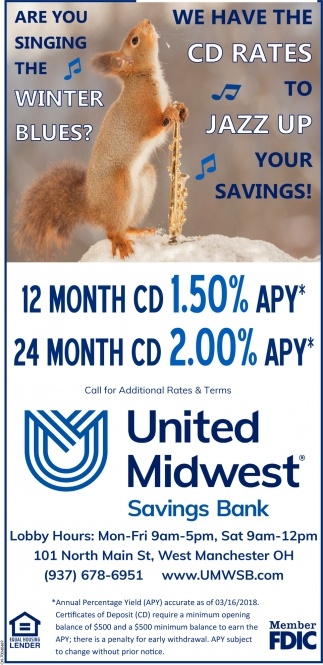 12 Month CD 1.50% APY - 24 Month CD 2.00% APY*